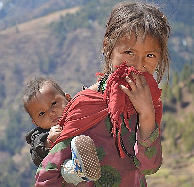 Children in harsh mountain area are craving to learn with computer support...